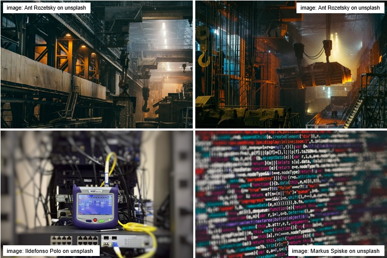 Series of images illustrating the combination of industrial production, sensor application, data evaluation and process control, Images: www.unsplash.com